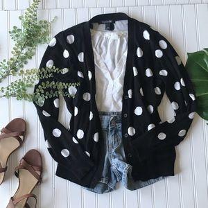Polka dot cardigan forever 21 black white sweater